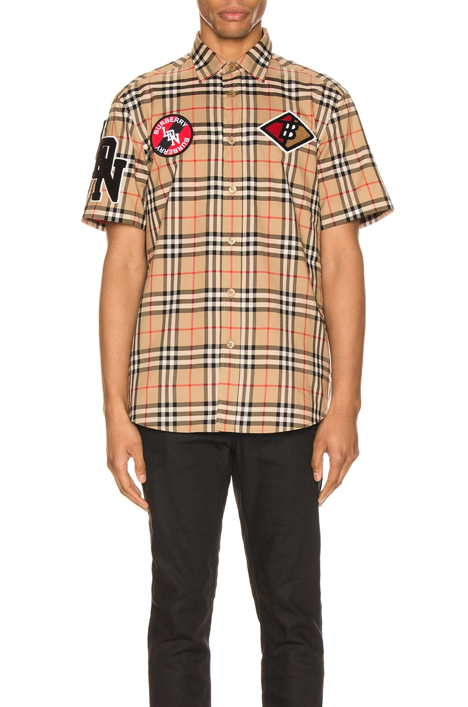 Image 1 of Burberry Combe Short Sleeve Shirt in Archive Beige IP Check