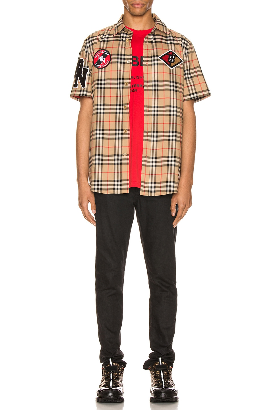 Image 5 of Burberry Combe Short Sleeve Shirt in Archive Beige IP Check