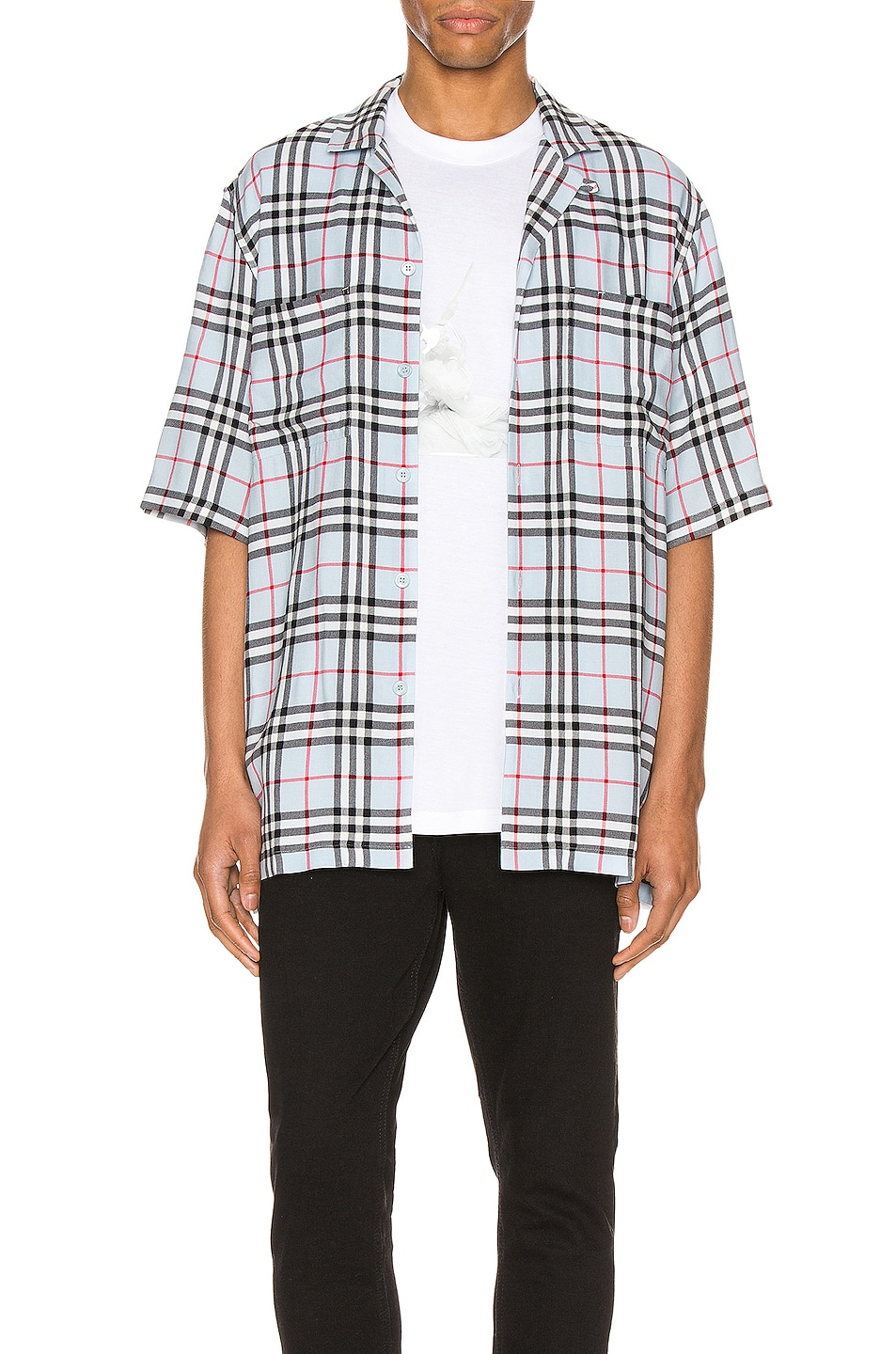 Image 1 of Burberry Raymouth Button Down Shirt in Pale Blue IP Check