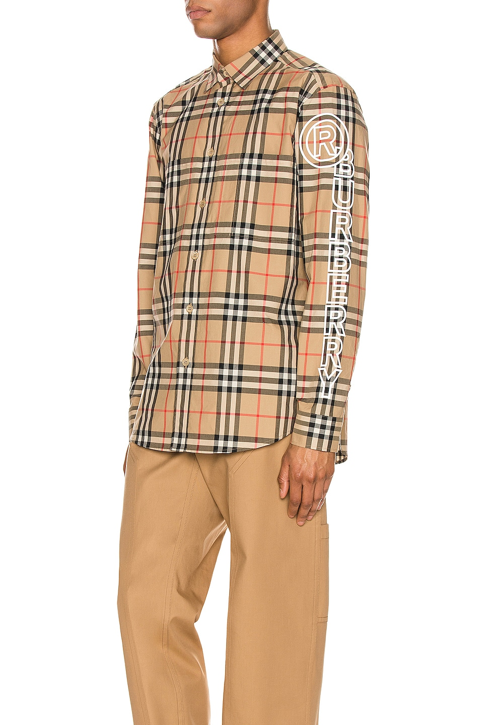 Image 1 of Burberry Camerson Long Sleeve Shirt in Archive Beige IP Check