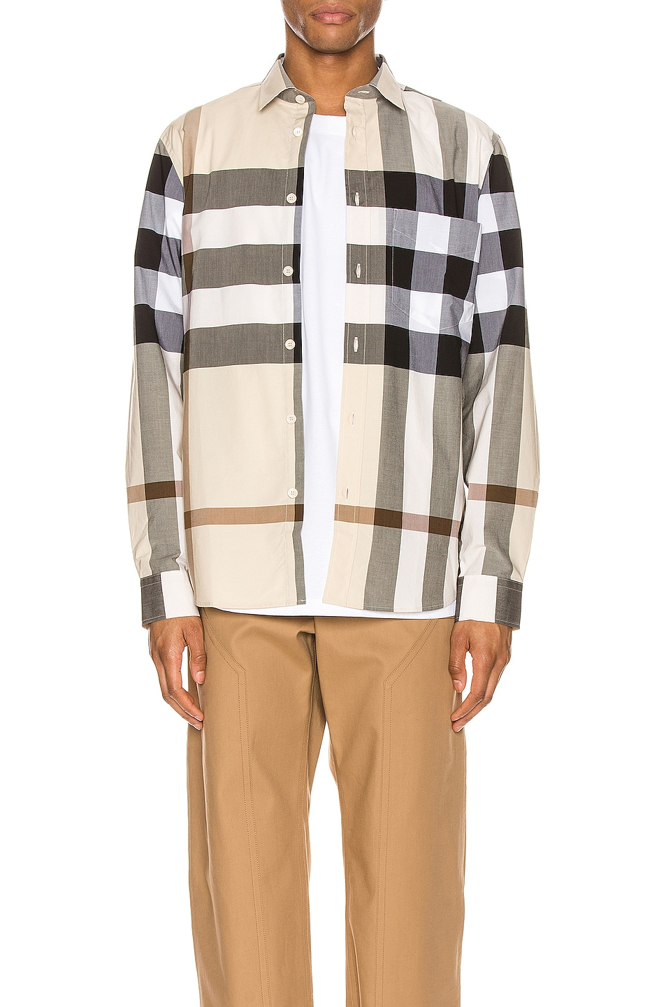 Image 1 of Burberry Somerton Long Sleeve Shirt in Modern Beige IP Check