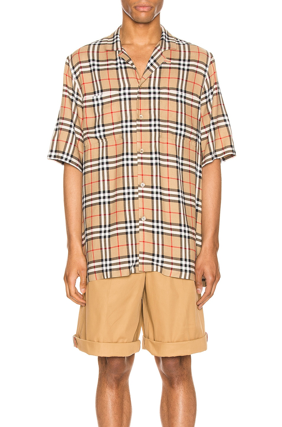Image 1 of Burberry Raymouth Check Short Sleeve Shirt in Archive Beige IP Check
