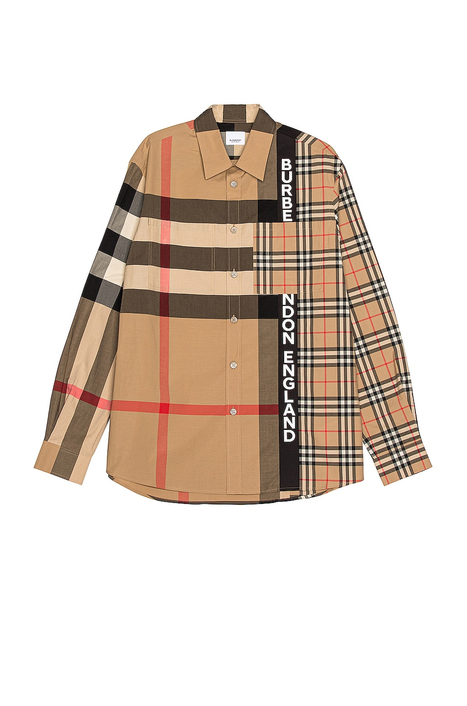 Image 1 of Burberry Talby Long Sleeve Button Down in Archive Beige