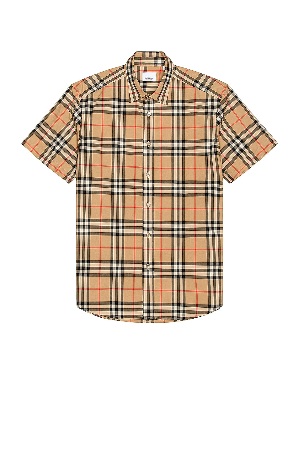 Image 1 of Burberry Caxton Short Sleeve Check Shirt in Archive Beige