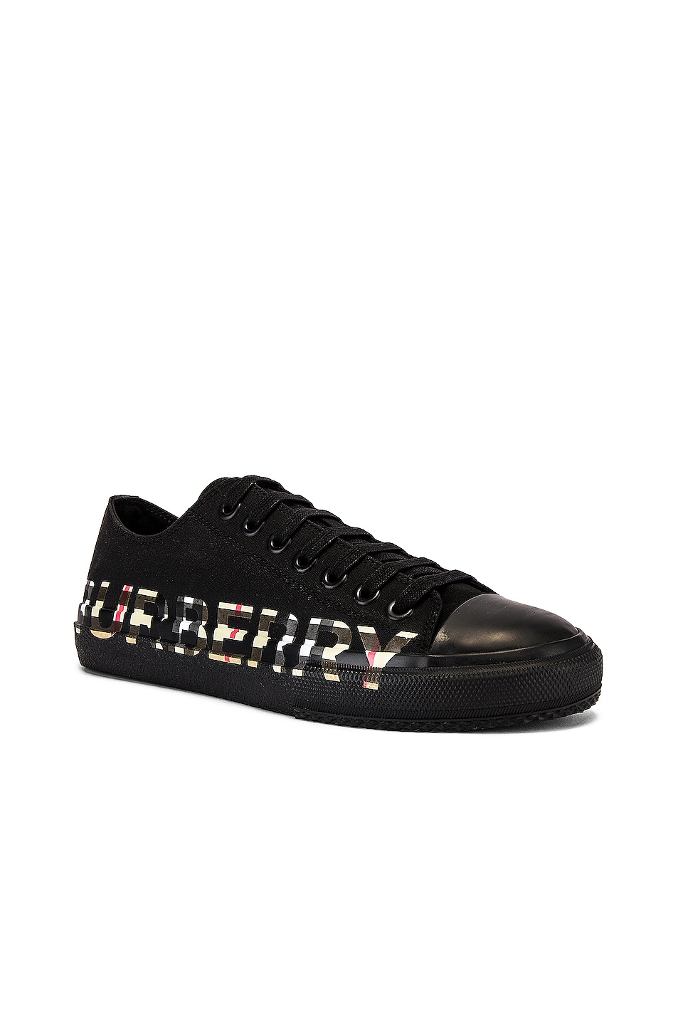 Image 2 of Burberry Larkhall M Logo DK Sneaker in Black & Archive Beige