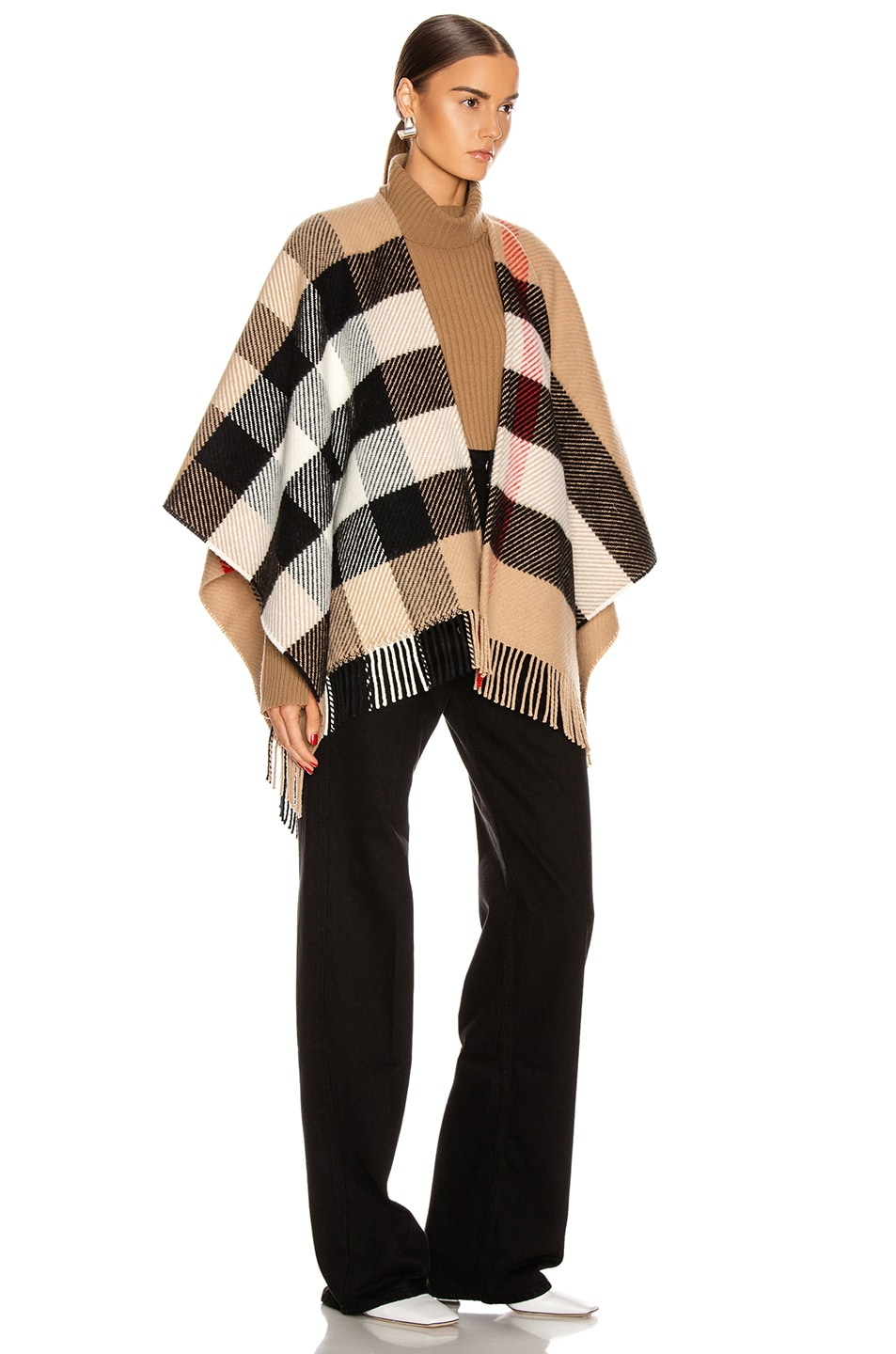 Image 2 of Burberry Mega Check Cape in Camel