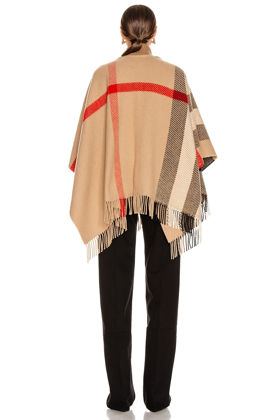 Image 3 of Burberry Mega Check Cape in Camel