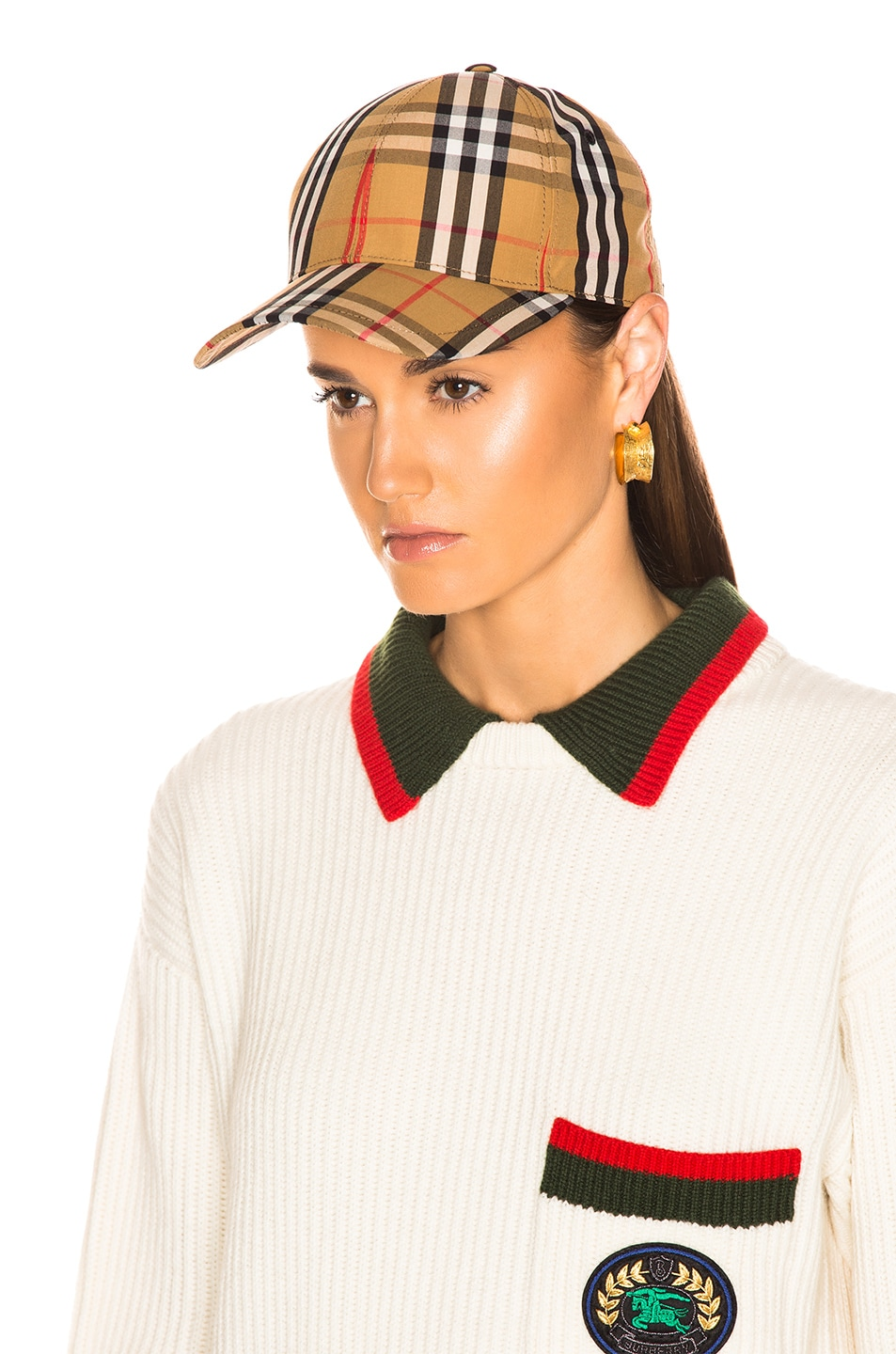 Image 5 of Burberry Vintage Check Baseball Cap in Antique Yellow Check