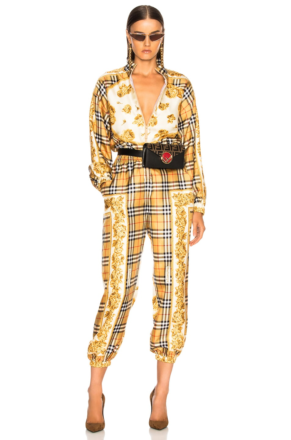 Image 1 of Burberry Check Jumpsuit in Antique Yellow Check