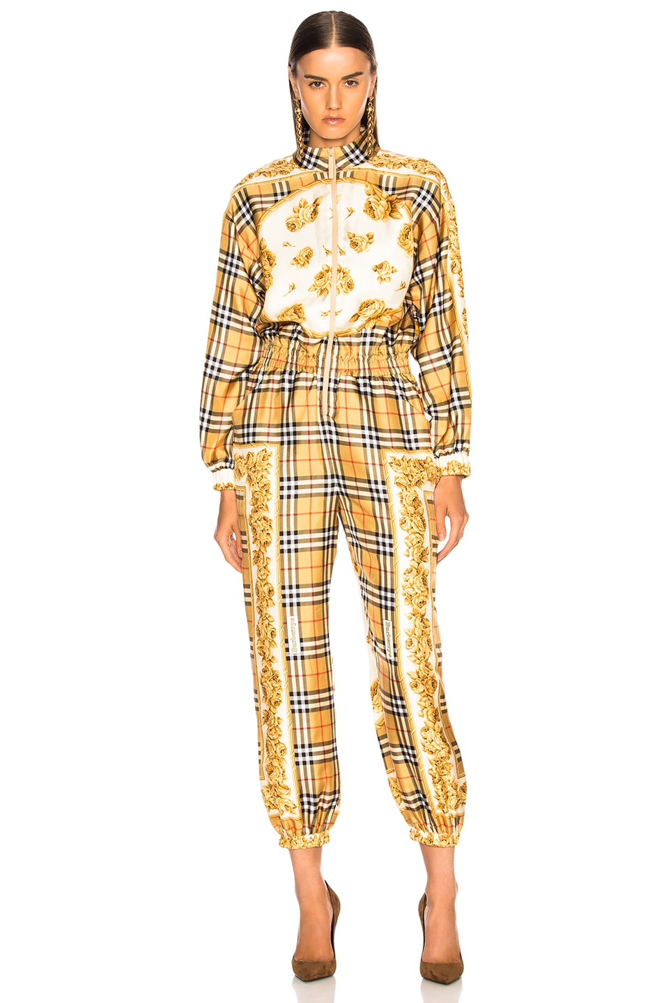 Image 2 of Burberry Check Jumpsuit in Antique Yellow Check