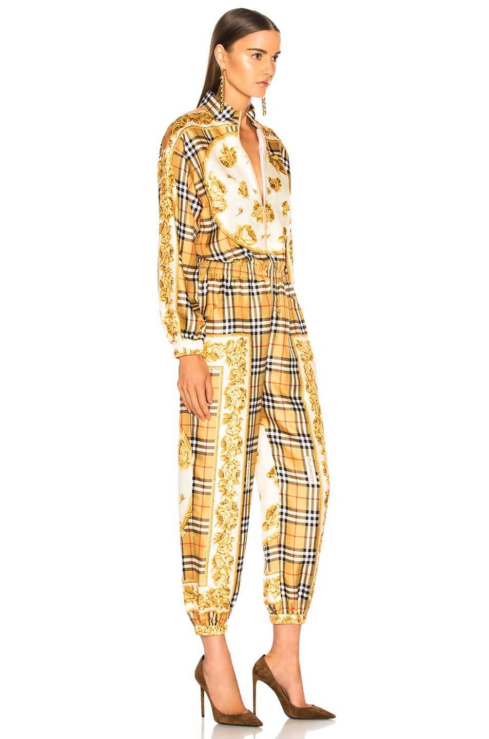 Image 3 of Burberry Check Jumpsuit in Antique Yellow Check