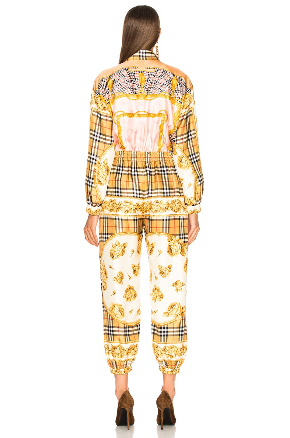 Image 4 of Burberry Check Jumpsuit in Antique Yellow Check