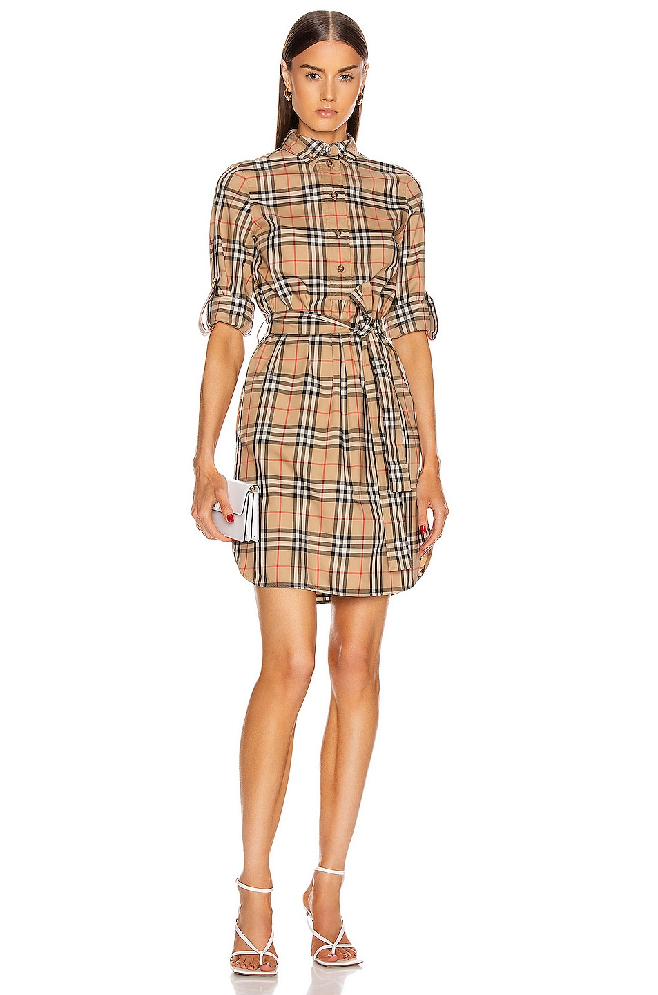 Image 1 of Burberry Long Sleeve Dress in Archive Beige Check
