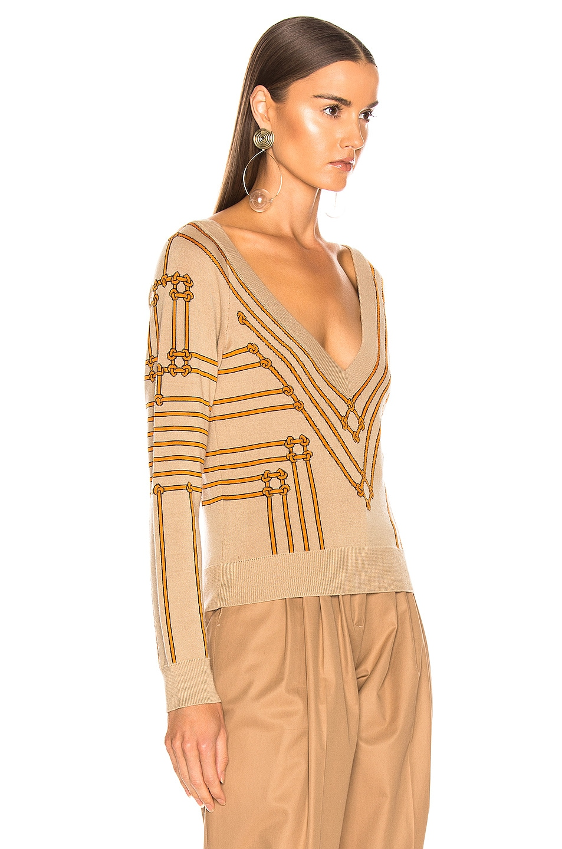 Image 3 of Burberry V Neck Sweater in Honey