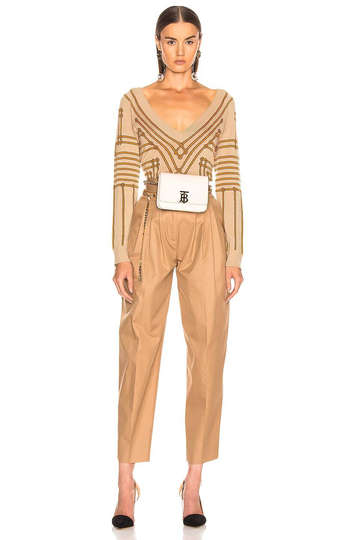 Image 5 of Burberry V Neck Sweater in Honey