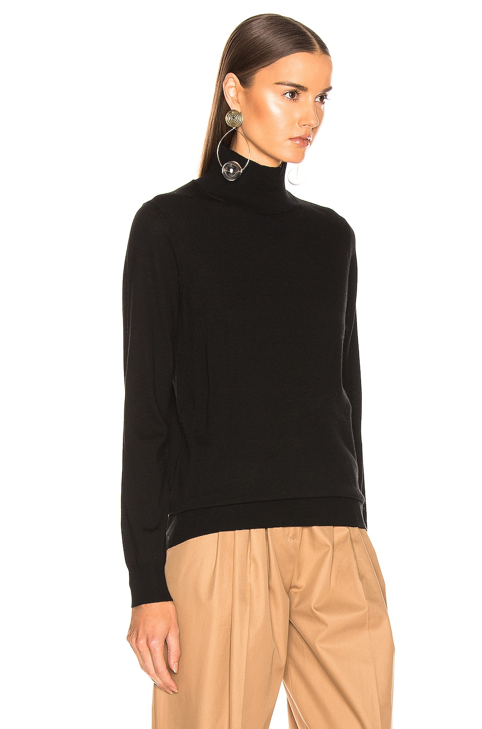 Image 3 of Burberry Logo Turtleneck Sweater in Black