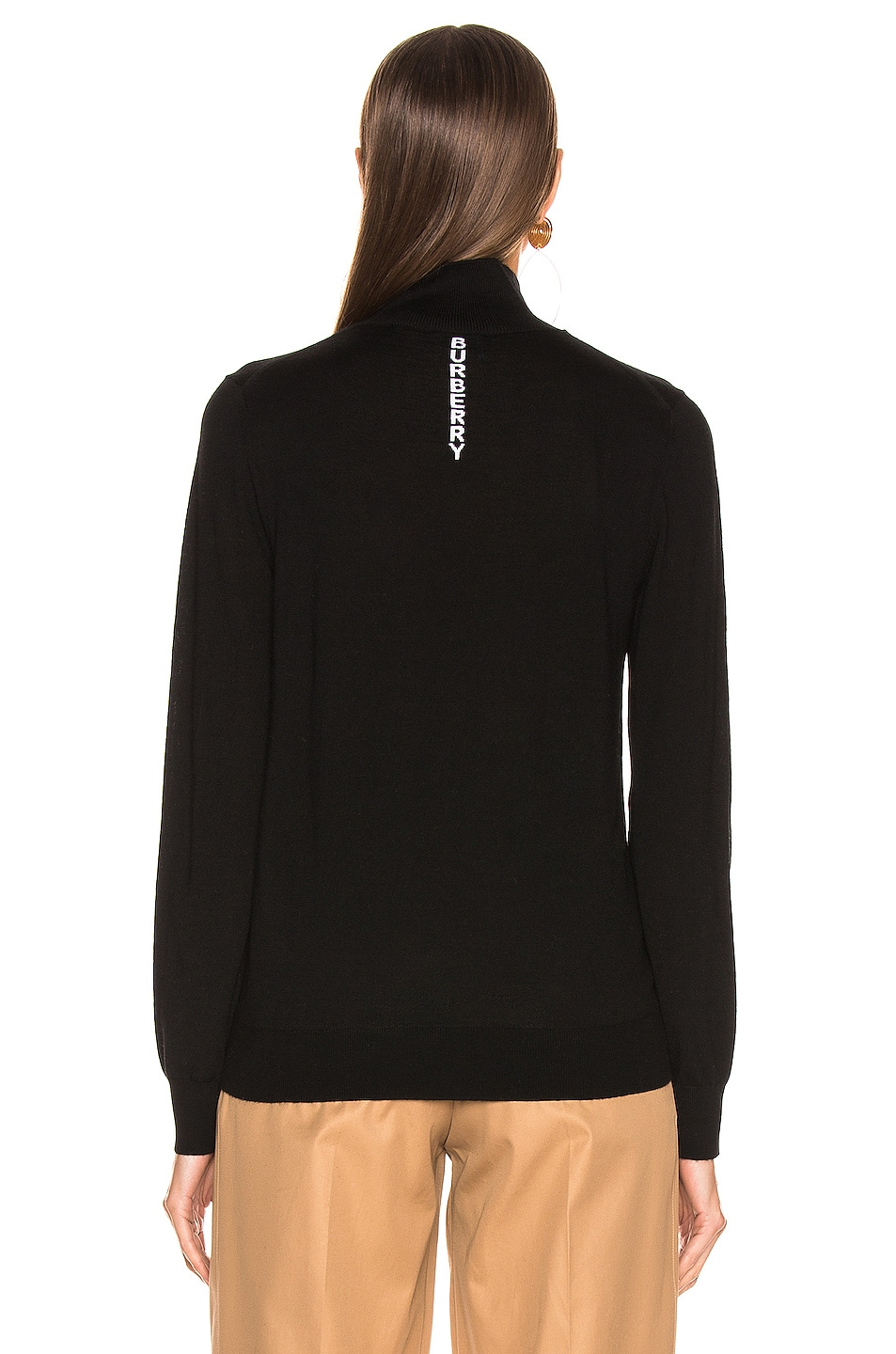 Image 4 of Burberry Logo Turtleneck Sweater in Black