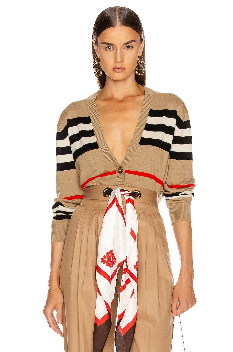 Image 1 of Burberry Scioto Stripe Cardigan in Archive Beige