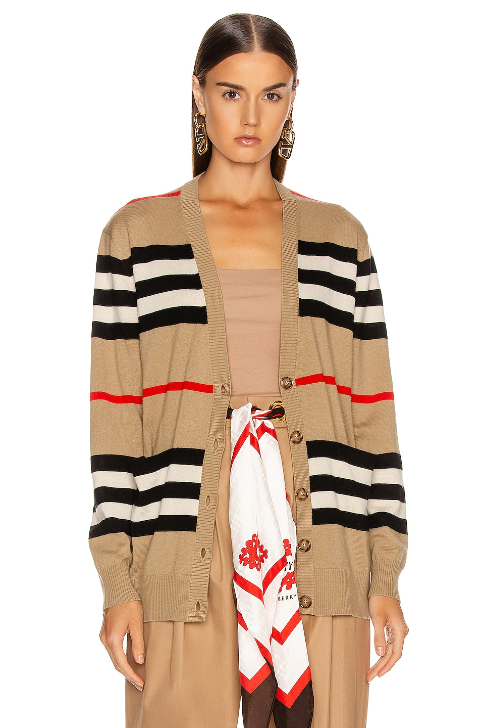 Image 2 of Burberry Scioto Stripe Cardigan in Archive Beige