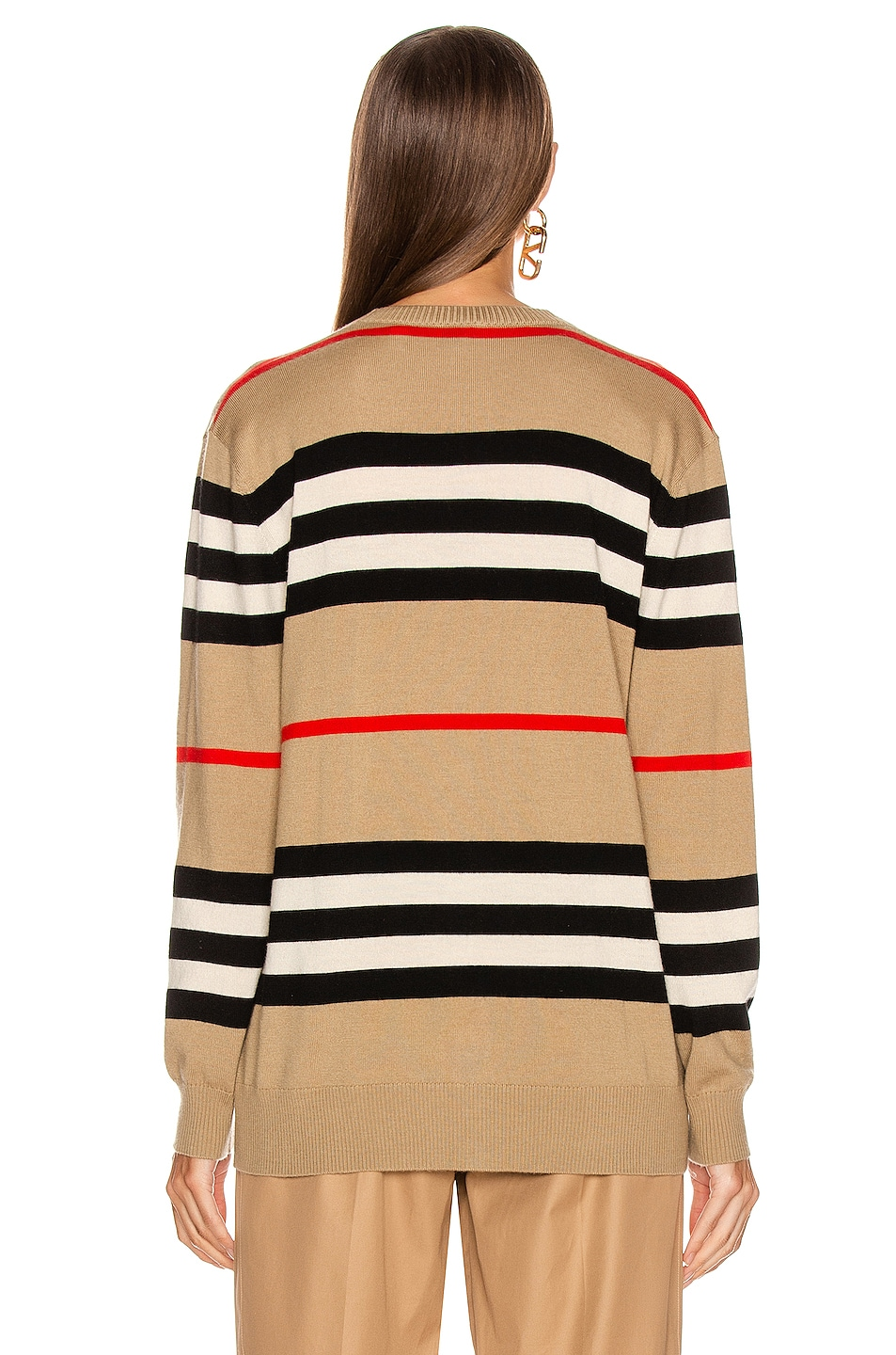 Image 4 of Burberry Scioto Stripe Cardigan in Archive Beige