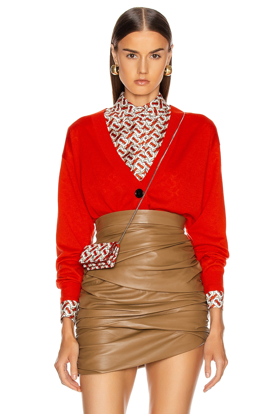 Image 1 of Burberry Dornoch Elbow Patch Cardigan in Vermillion