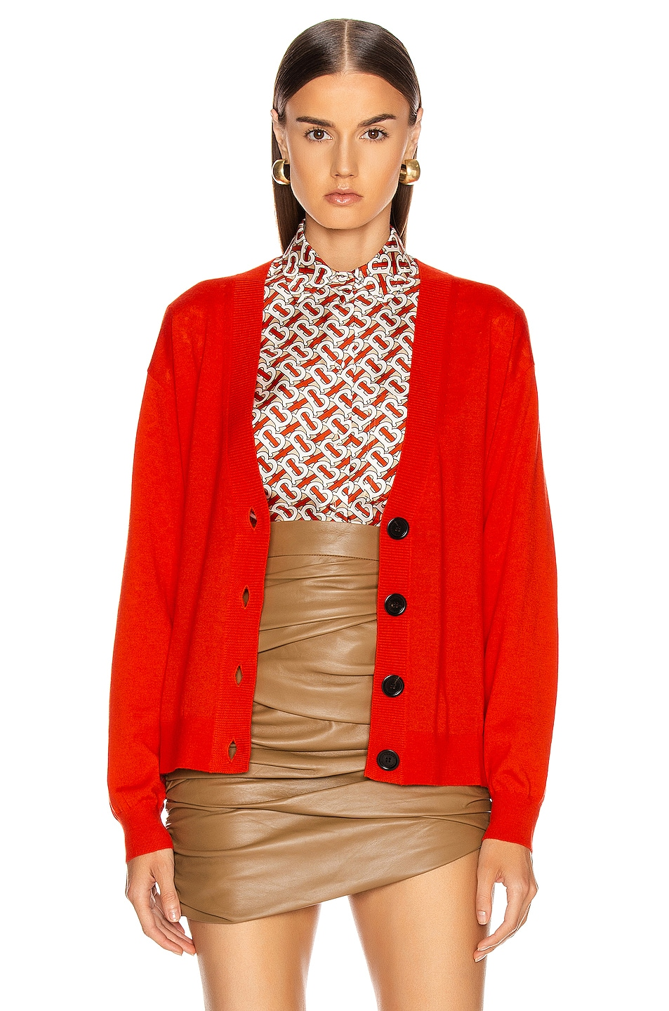 Image 2 of Burberry Dornoch Elbow Patch Cardigan in Vermillion