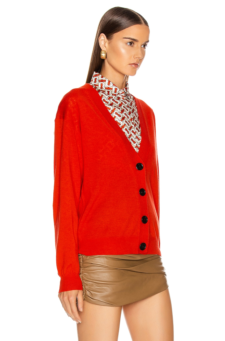 Image 3 of Burberry Dornoch Elbow Patch Cardigan in Vermillion