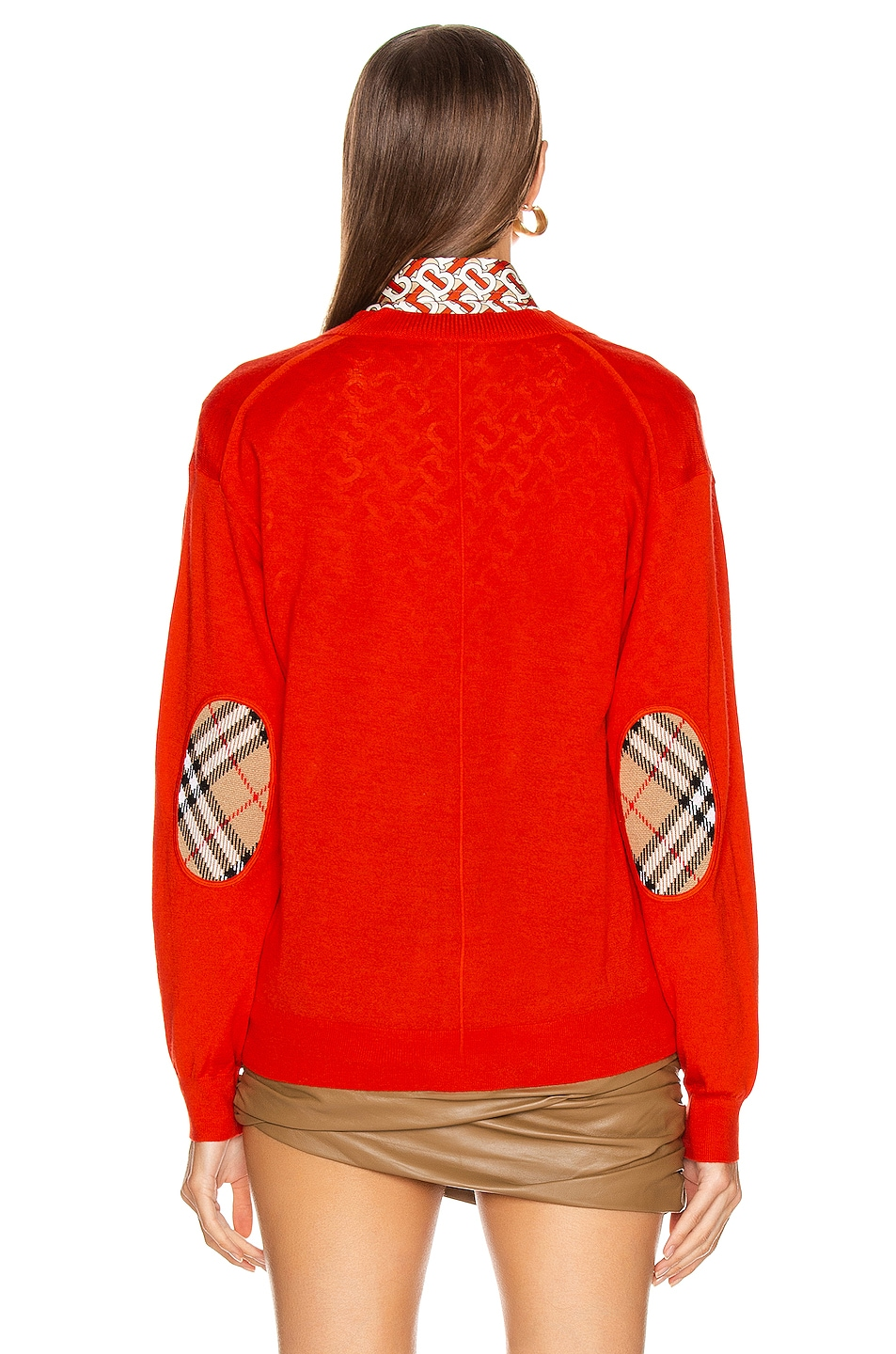 Image 4 of Burberry Dornoch Elbow Patch Cardigan in Vermillion