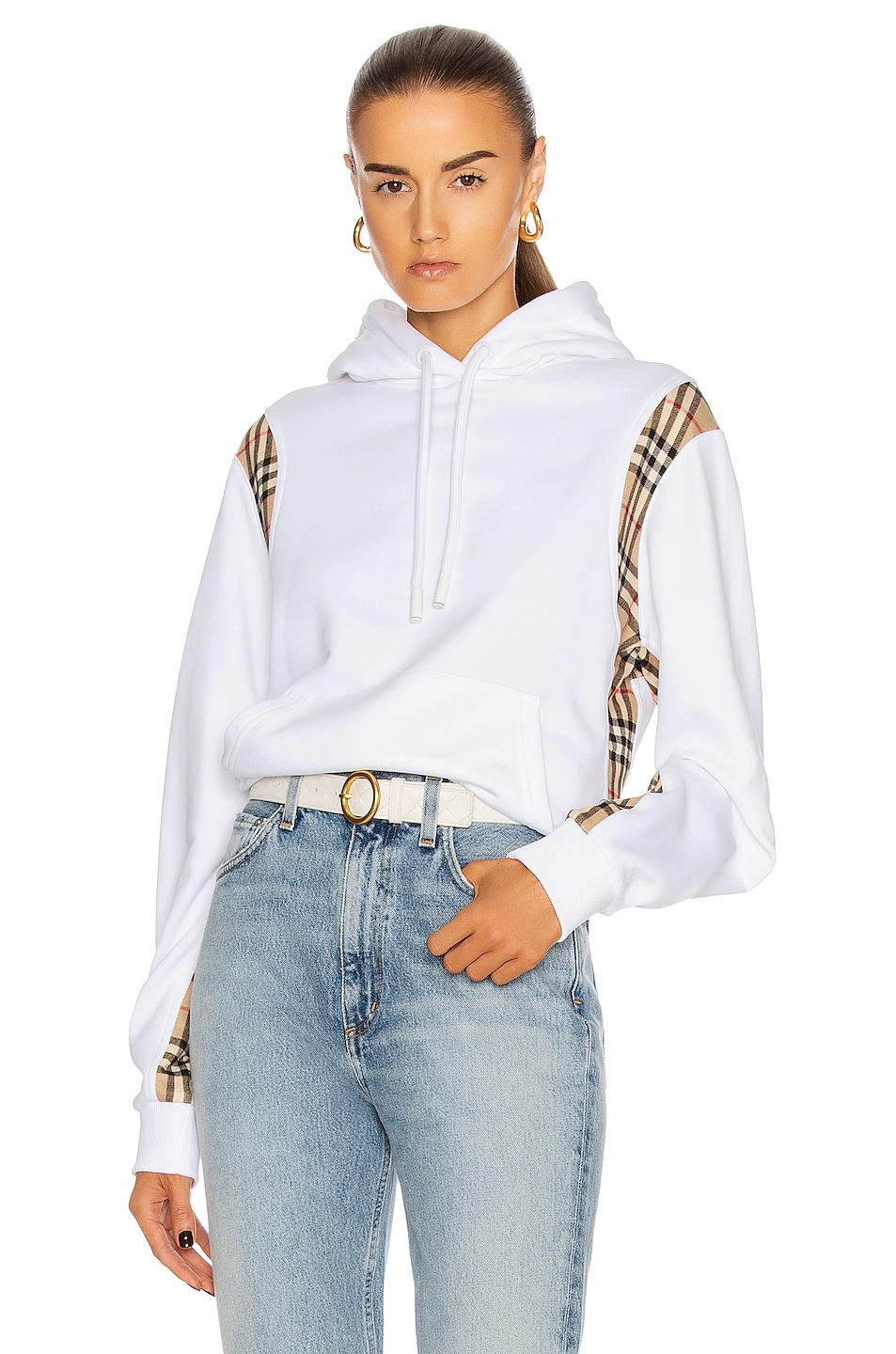 Image 1 of Burberry Fairhall Check Panel Sweatshirt in White