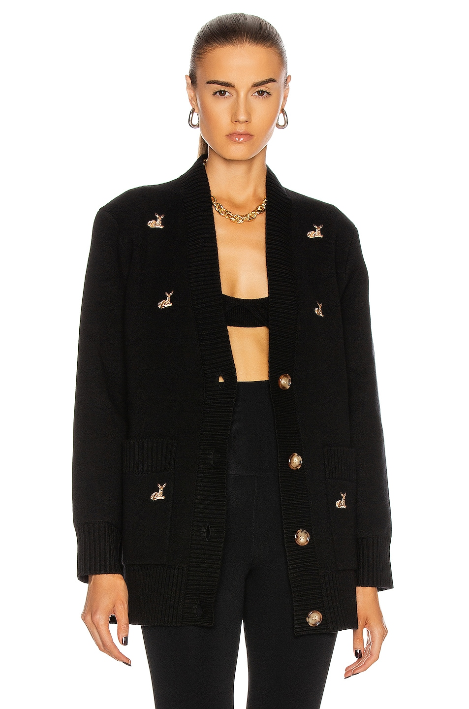 Image 1 of Burberry Adrianna Deer Cardigan in Black