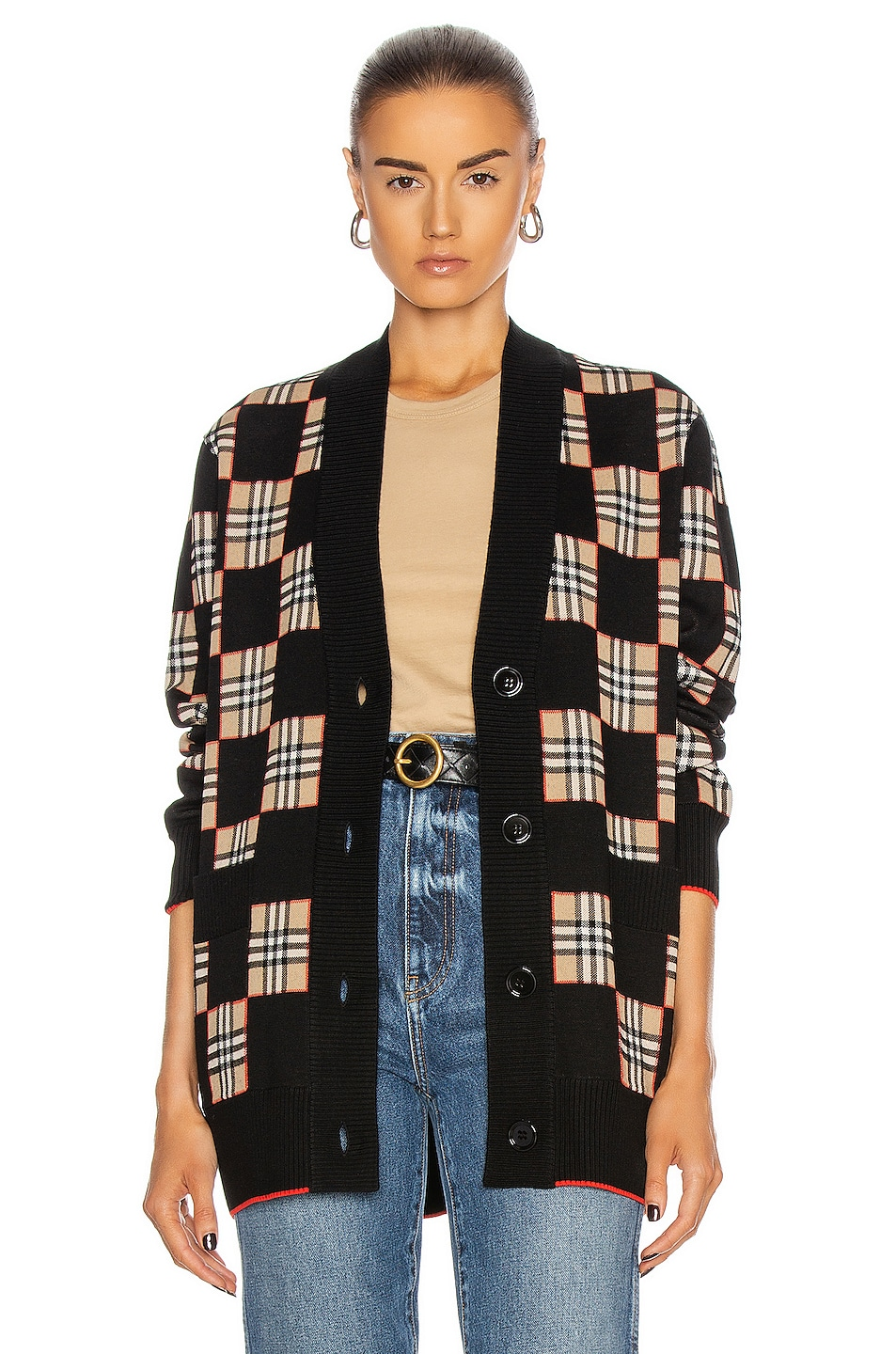 Image 1 of Burberry Paislee Cardigan in Black & Archive Beige