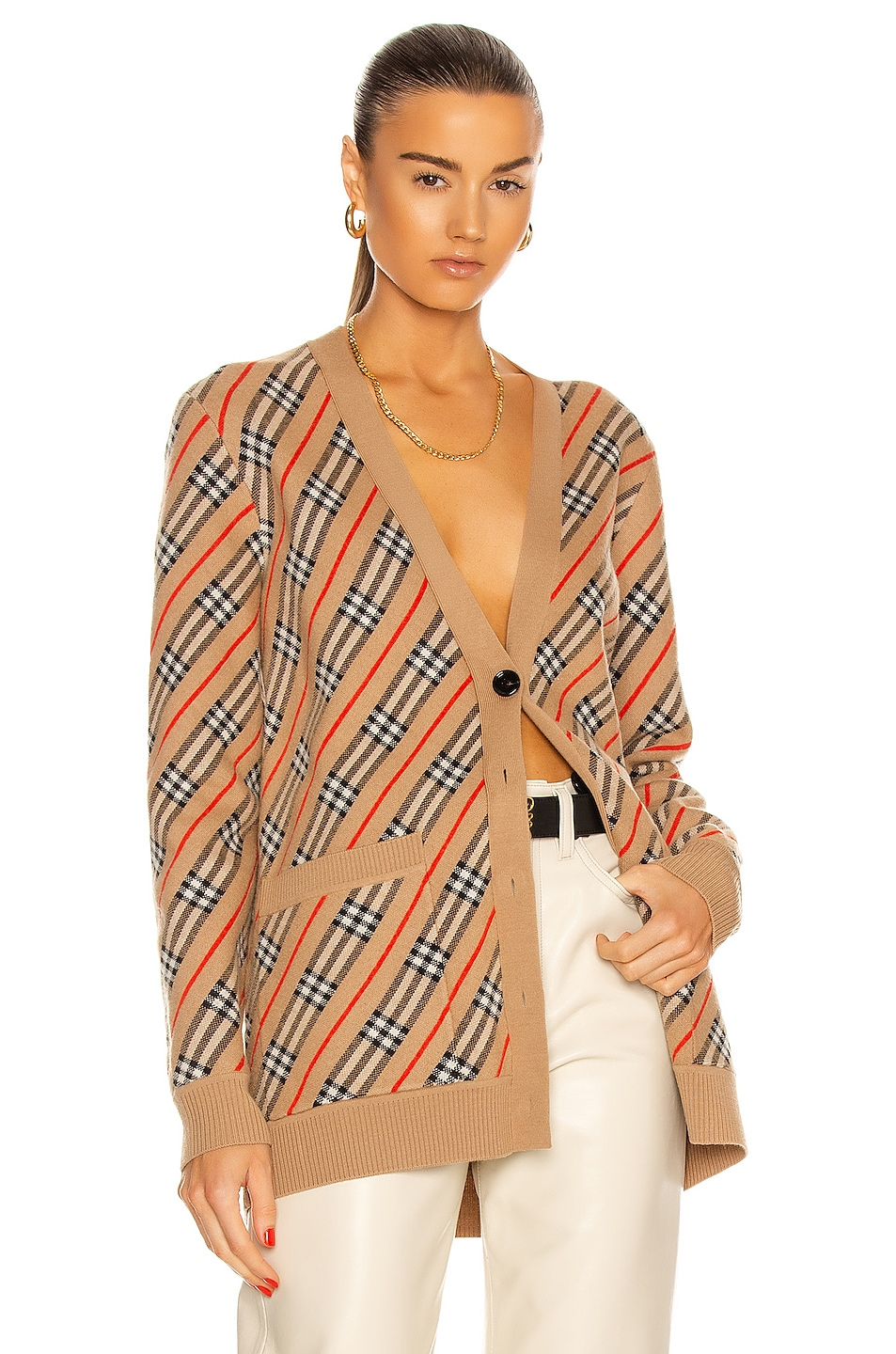 Image 1 of Burberry Coralie Cardigan in Camel