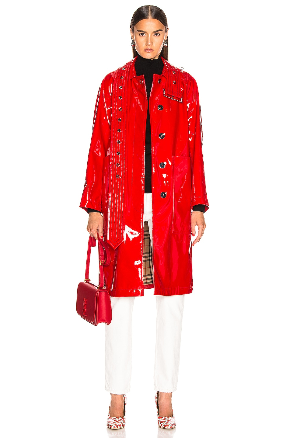 Image 1 of Burberry Patent Coat in Bright Red