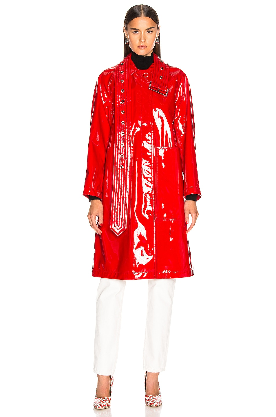 Image 2 of Burberry Patent Coat in Bright Red