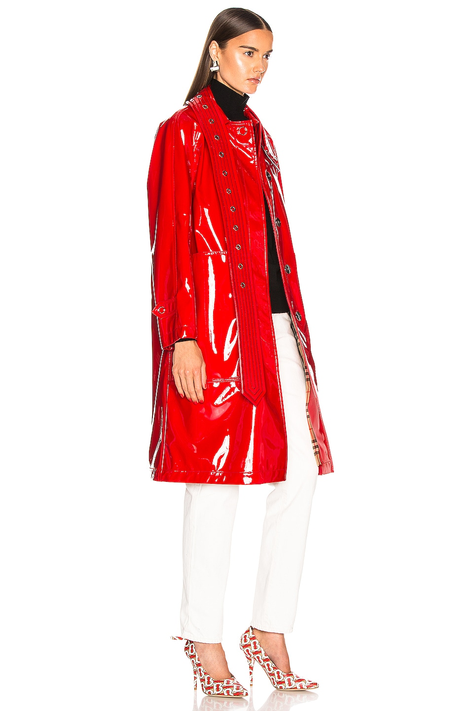 Image 3 of Burberry Patent Coat in Bright Red