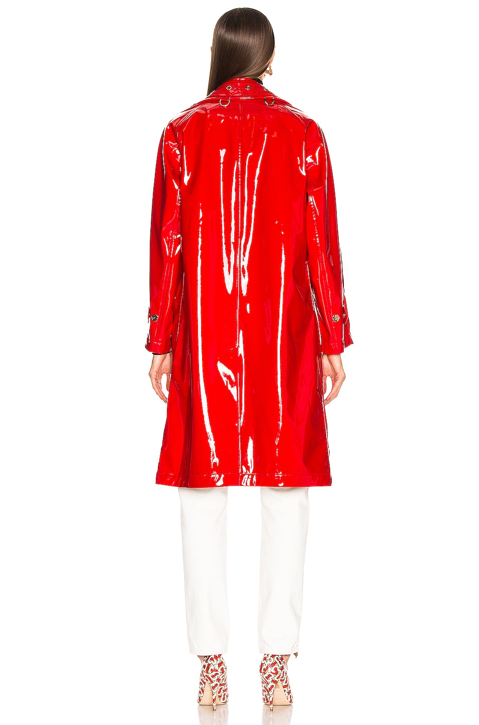 Image 4 of Burberry Patent Coat in Bright Red