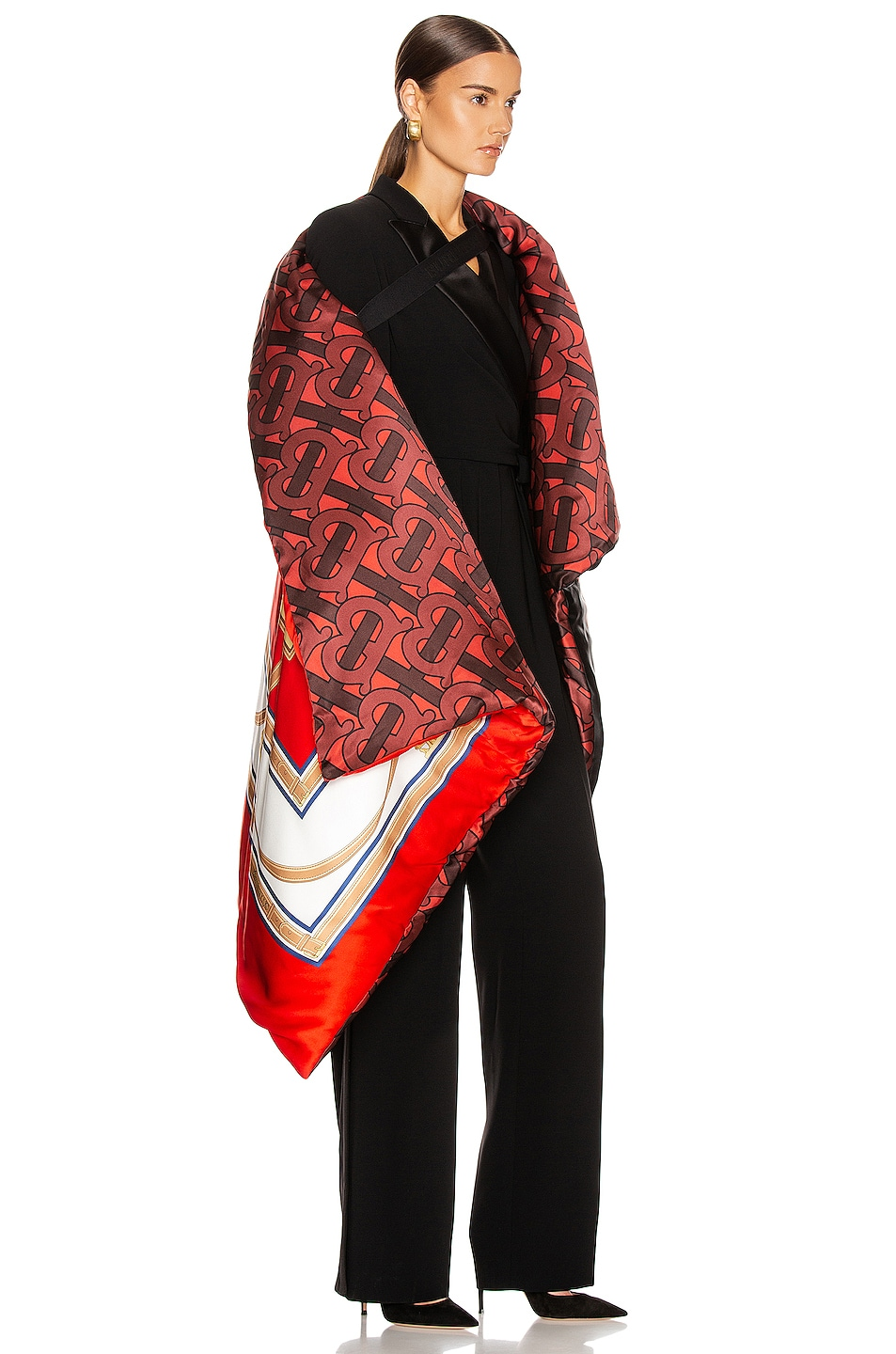 Image 3 of Burberry Monogram Printed Oversized Cape in Crimson