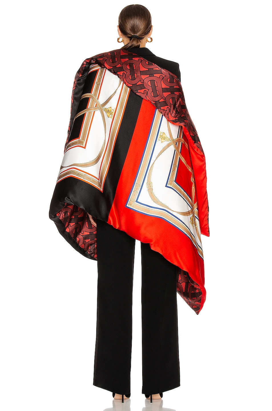 Image 4 of Burberry Monogram Printed Oversized Cape in Crimson