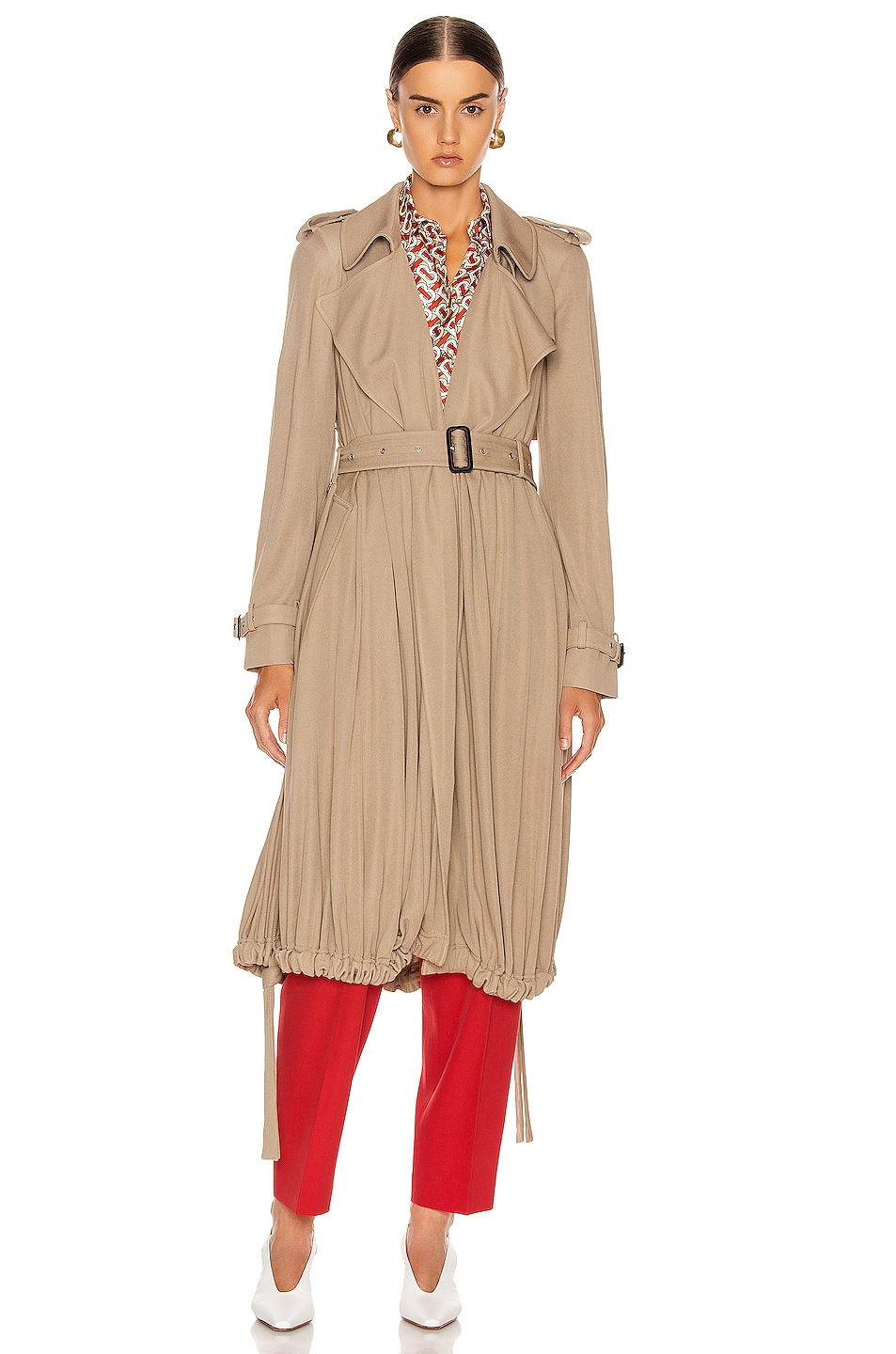Image 2 of Burberry Cyla Wrap Coat in Warm Taupe