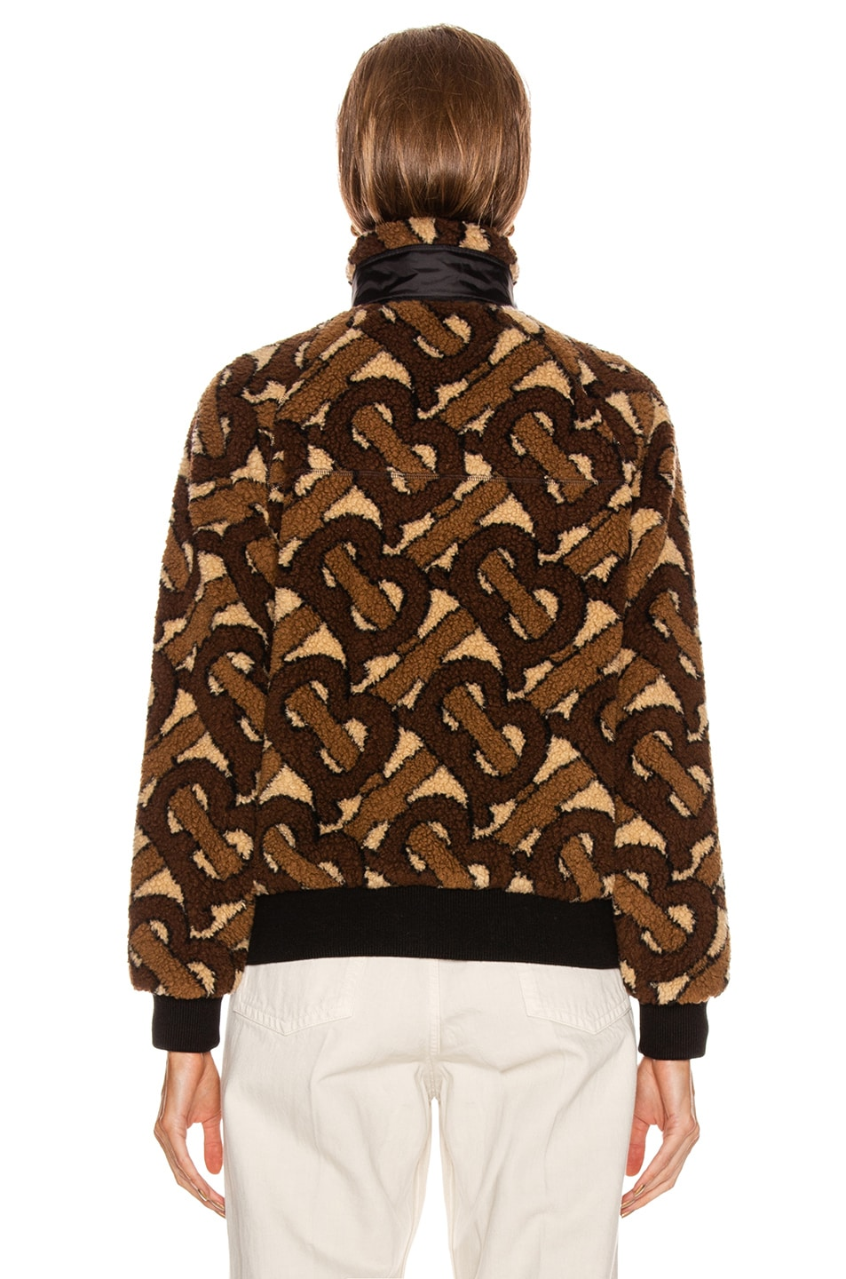 Image 4 of Burberry Logo Fleece Jacket in Bridle Brown