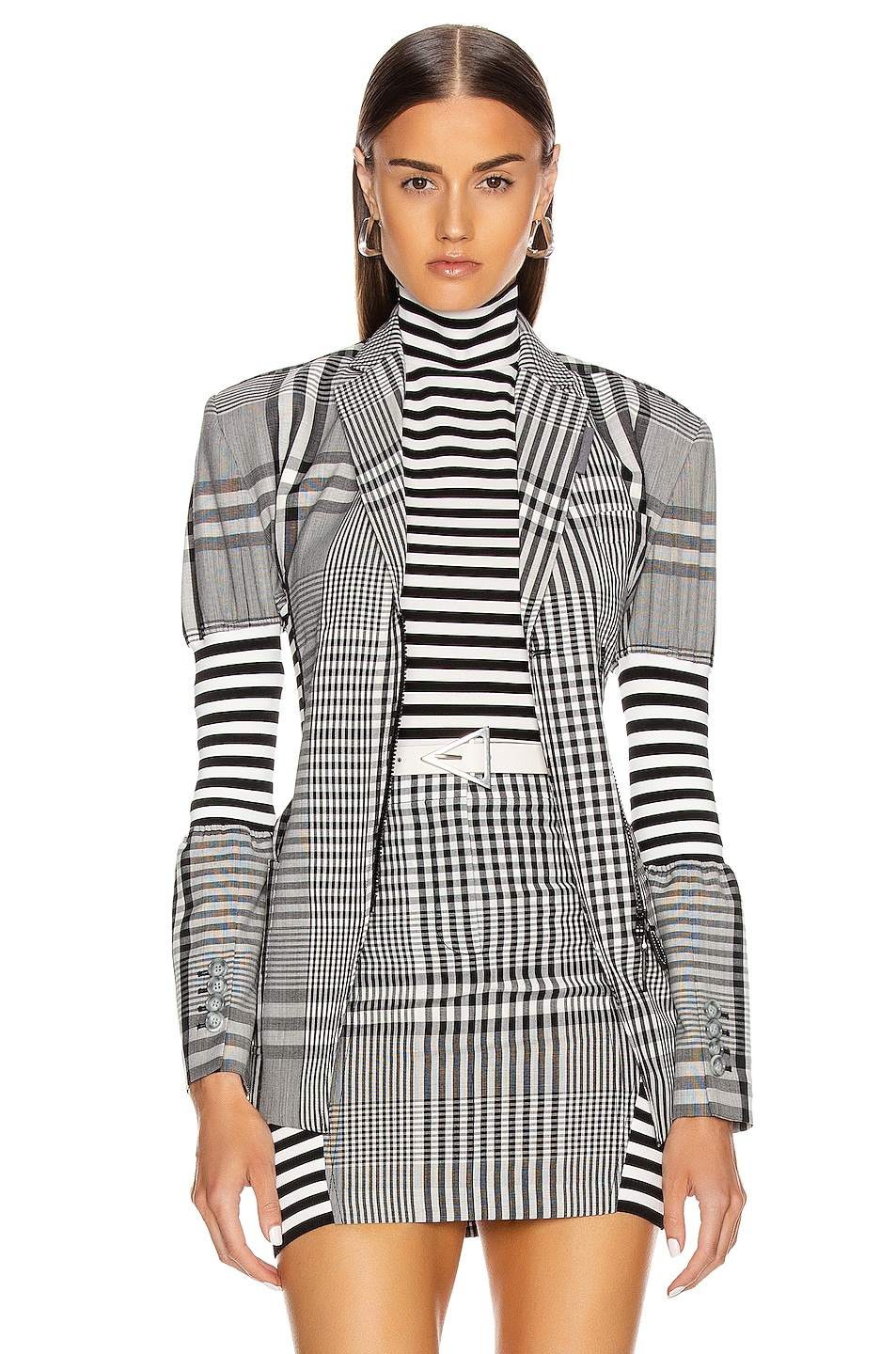 Image 1 of Burberry Gingham Check Tailored Jacket in Black