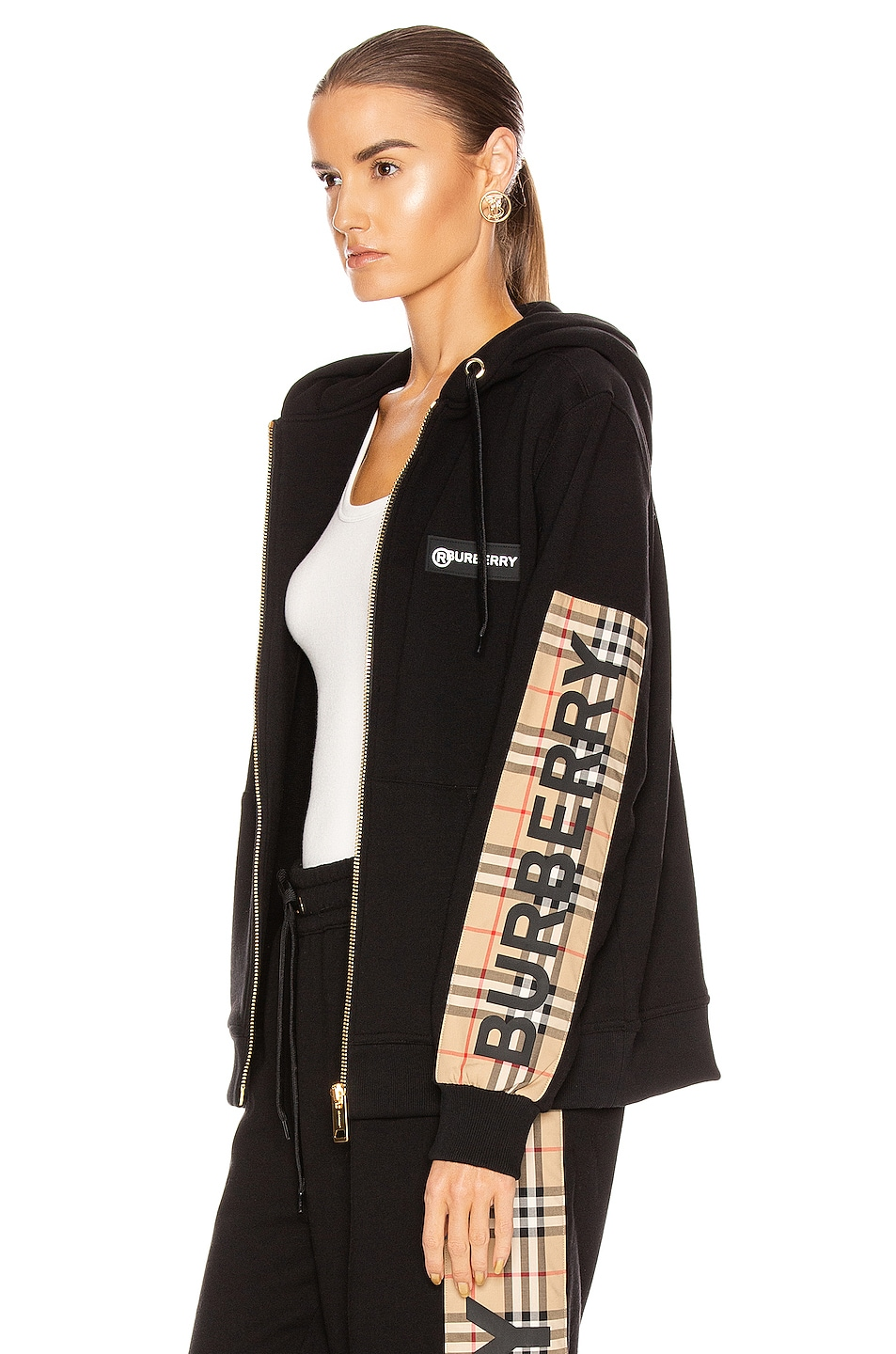 Image 1 of Burberry Aubree Hooded Jacket in Black