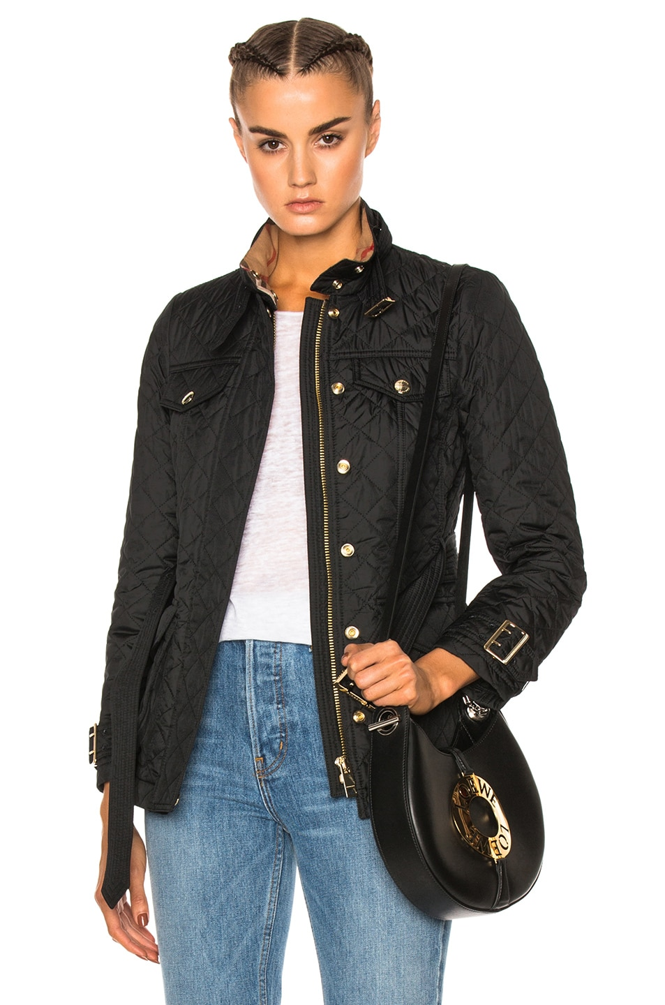 Image 1 of Burberry Haddingfield Quilted Field Jacket in Black