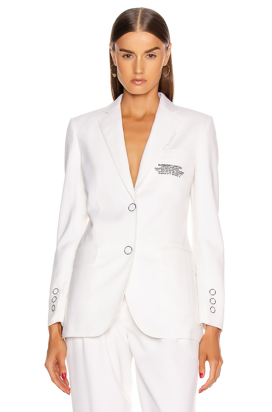 Image 1 of Burberry Sidon Tailored Blazer in Optic White