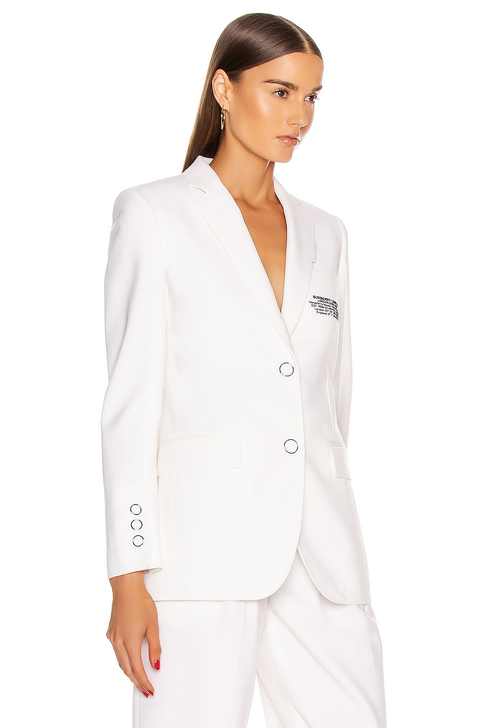 Image 2 of Burberry Sidon Tailored Blazer in Optic White