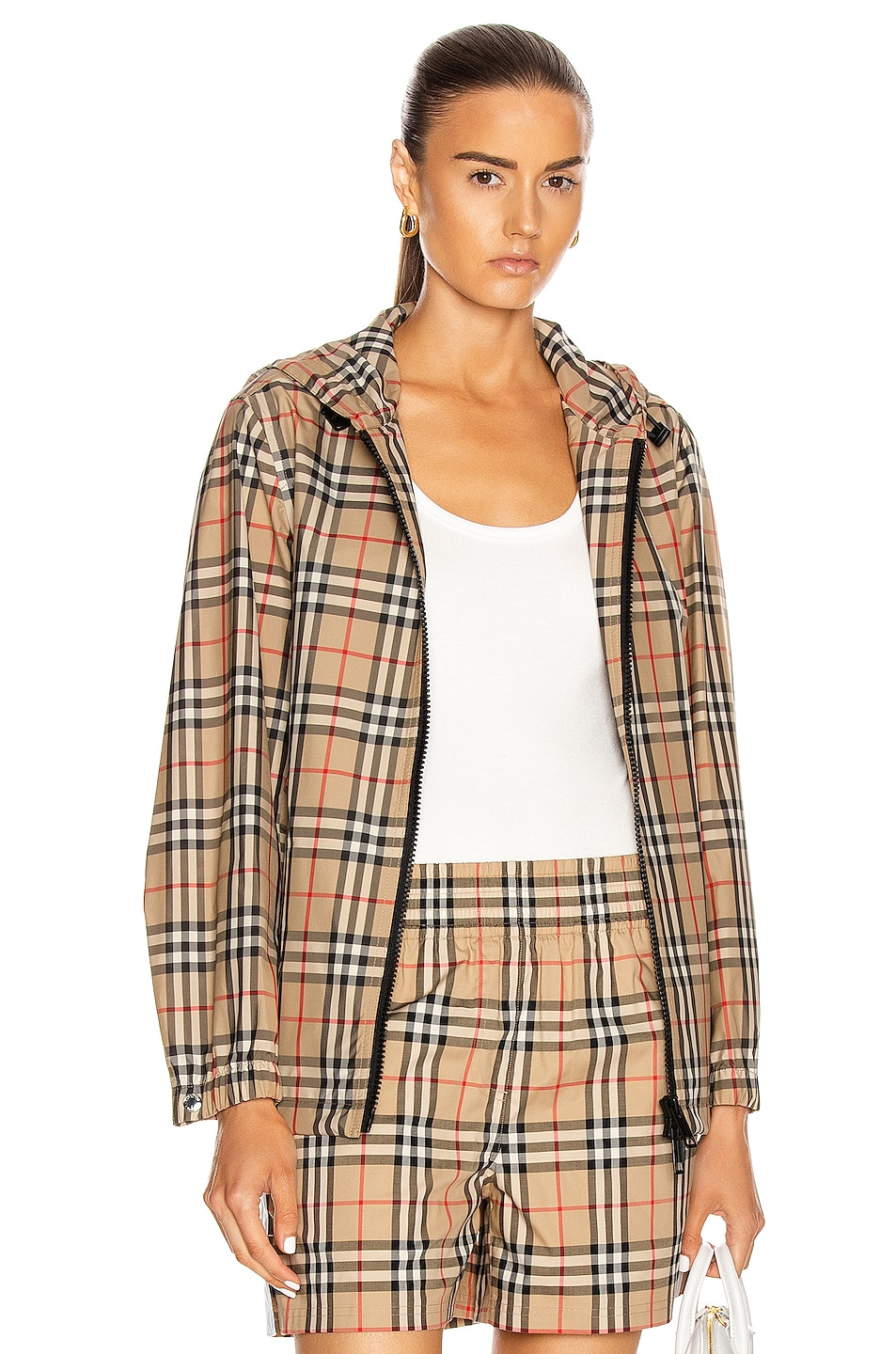Image 1 of Burberry Hooded Jacket in Archive Beige Check