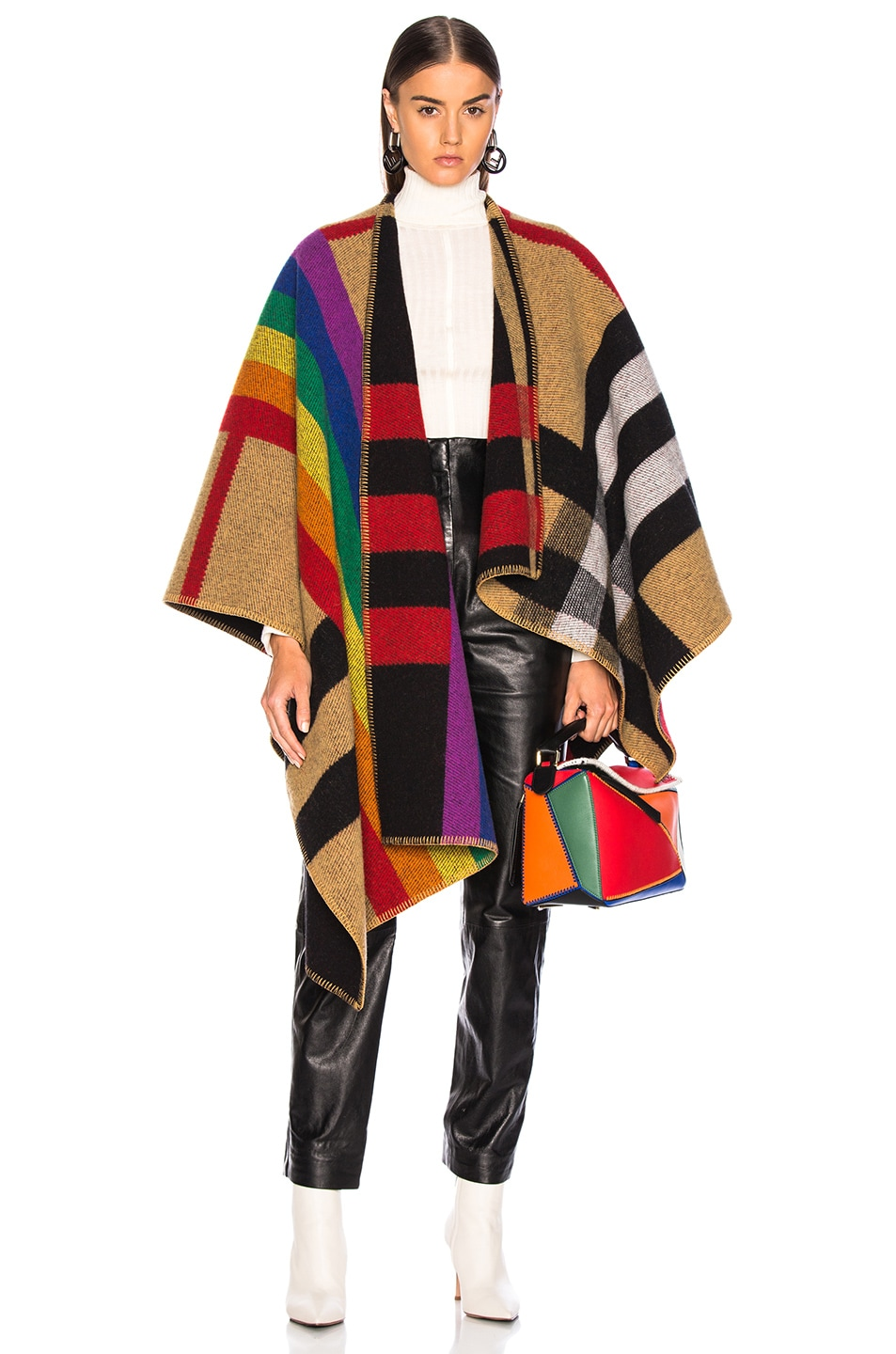 60dd2dc066a Image 1 of Burberry Rainbow Stripe Check Blanket Cape in Antique Yellow    Rainbow