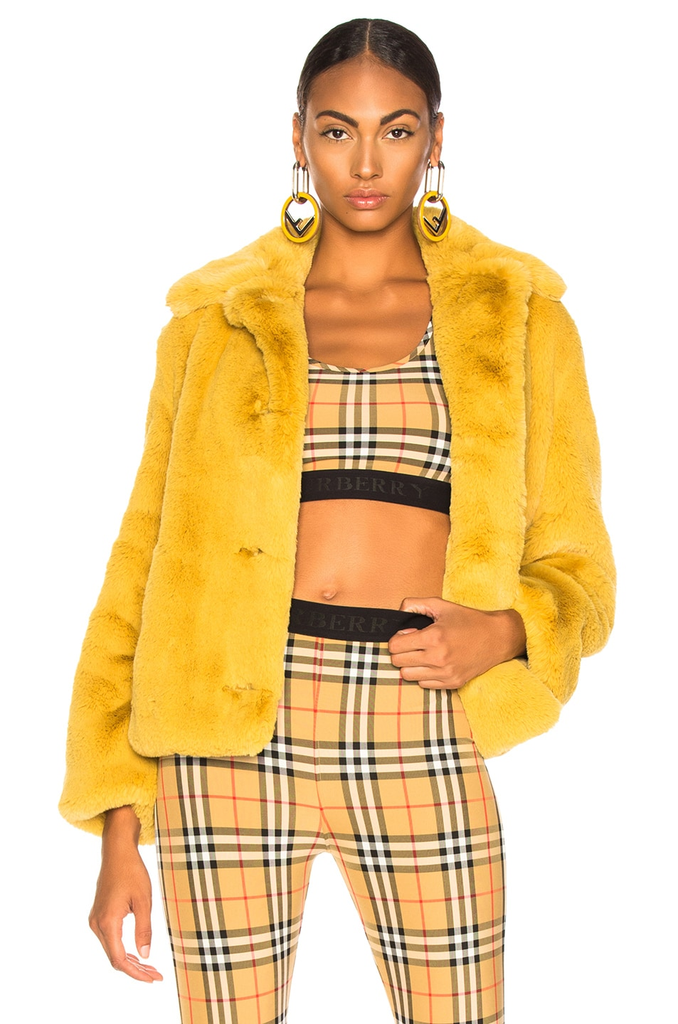 Image 1 of Burberry Alnswick Faux Fur Jacket in Ochre Yellow