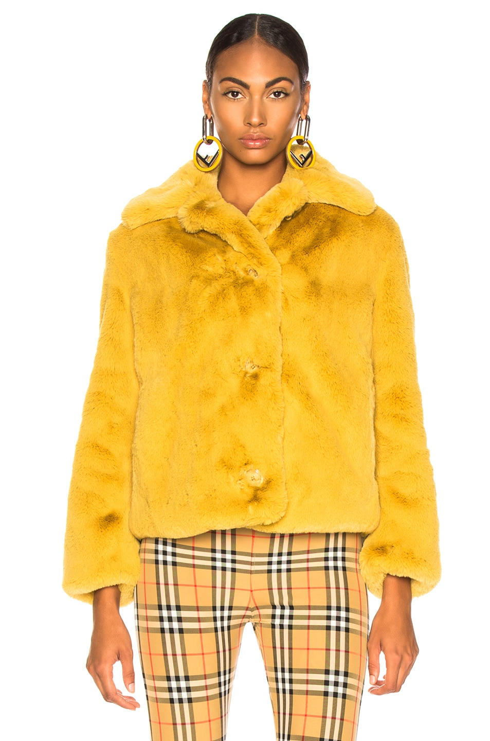 Image 2 of Burberry Alnswick Faux Fur Jacket in Ochre Yellow