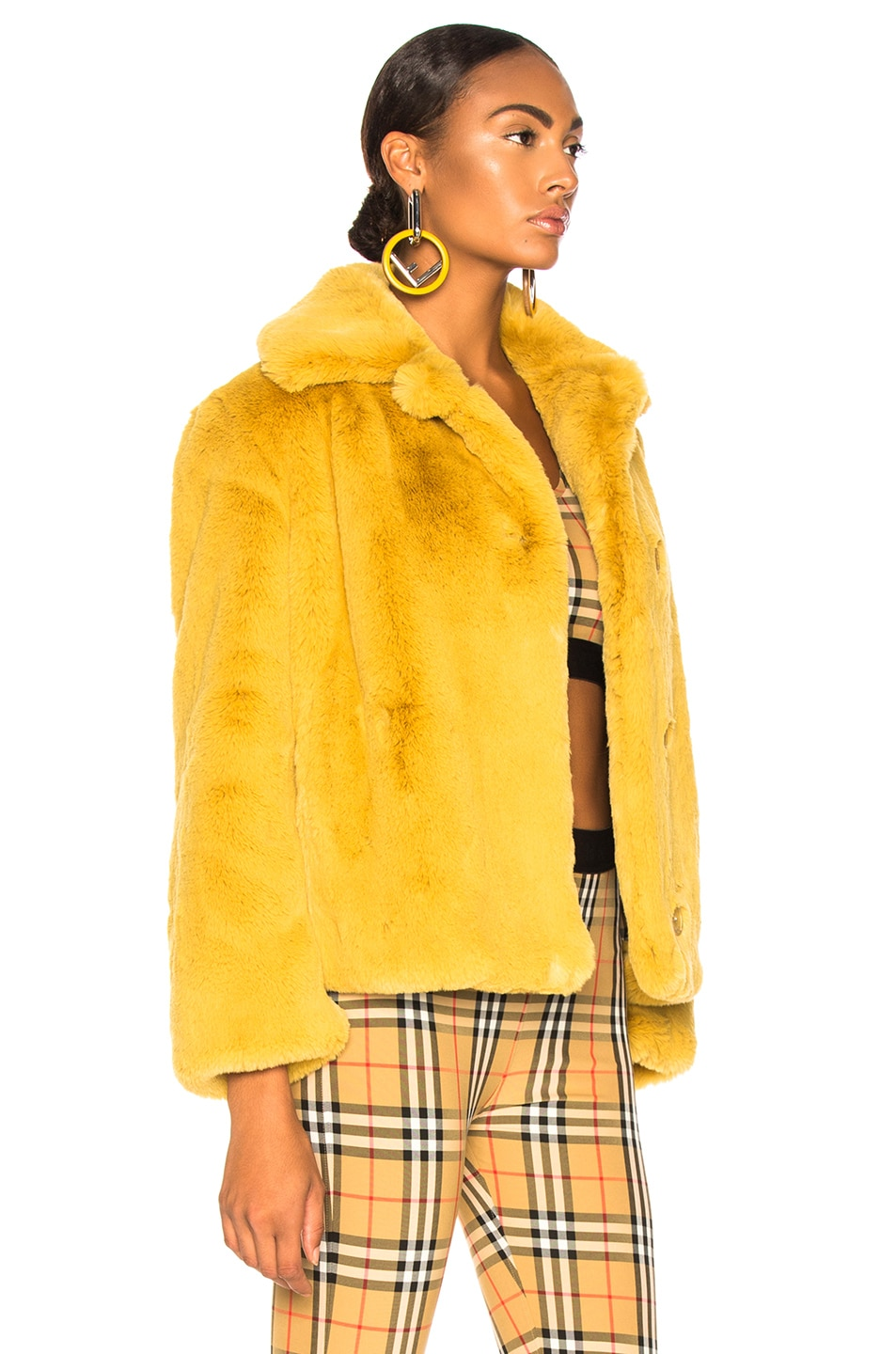 Image 3 of Burberry Alnswick Faux Fur Jacket in Ochre Yellow